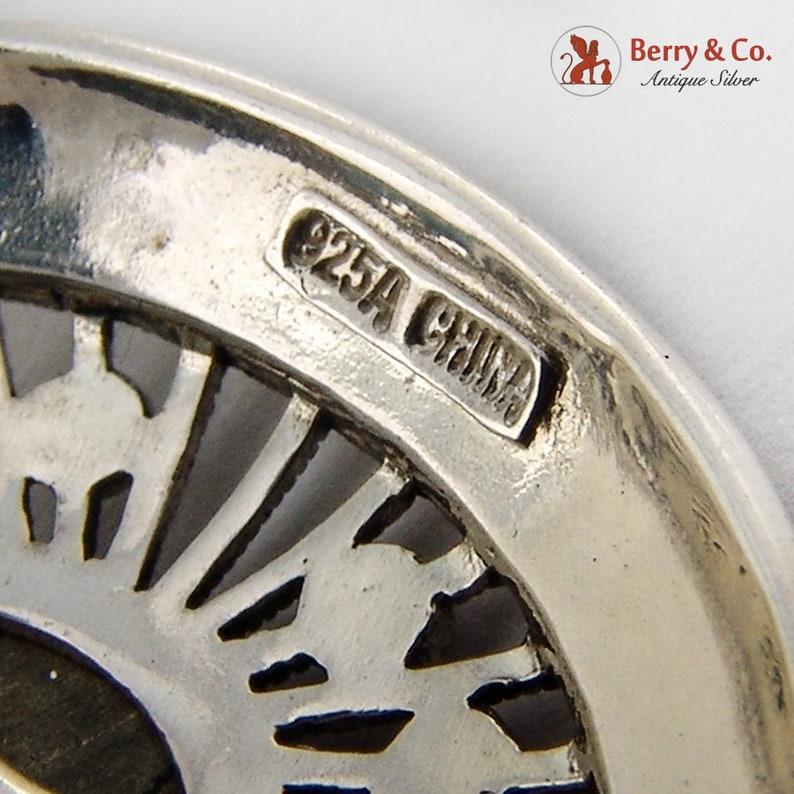 Openwork Hematite Pendant Chain Necklace Sterling Silver