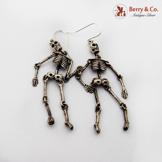 Articulated Skeleton Dangle Earrings Sterling Silv
