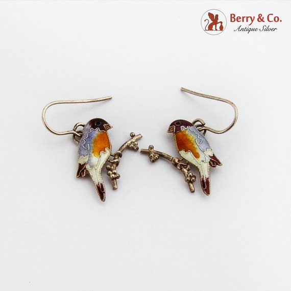 Colorful Enamel Bird Earrings Sterling Silver