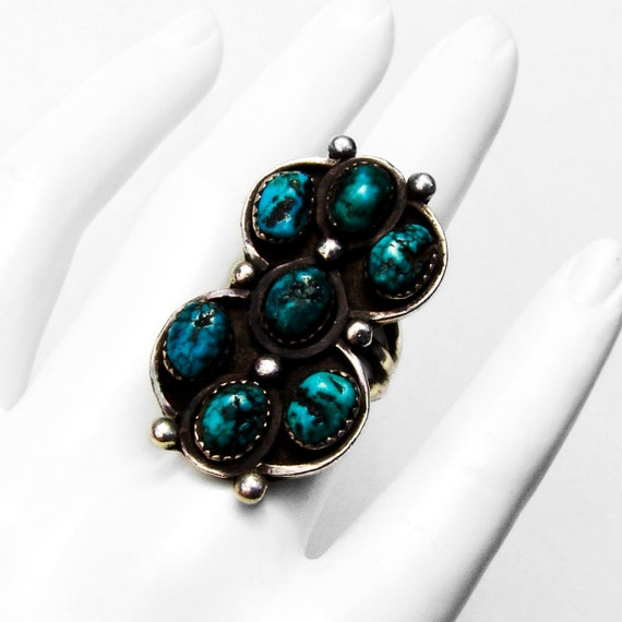 Old Pawn Long Turquoise Ring Sterling Silver