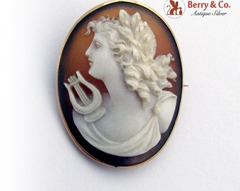Oval Shell Cameo Brooch Lady With Lyre 10K Gold Frame 1920