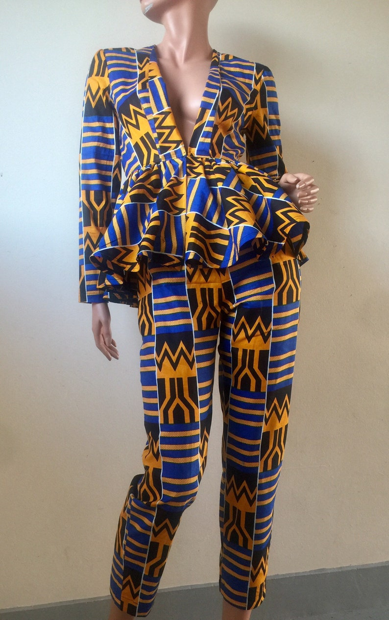 Kente African prints cotton jacket and trousers suit