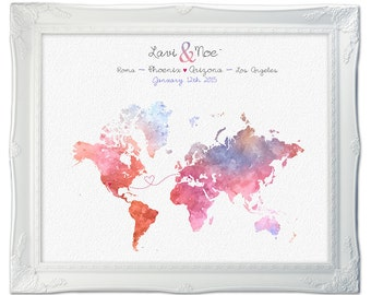 Custom world map - Wedding Map - Long Distance - Watercolor map - Relationship Poster Map - Anniversary gift - Adoption map