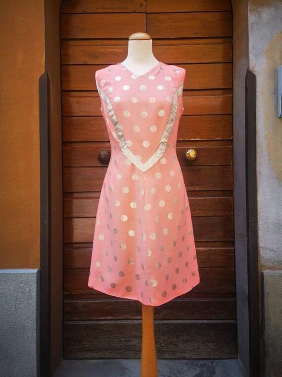 Vintage 1960s  Polka Dots Salmon Gold Mod Dress -