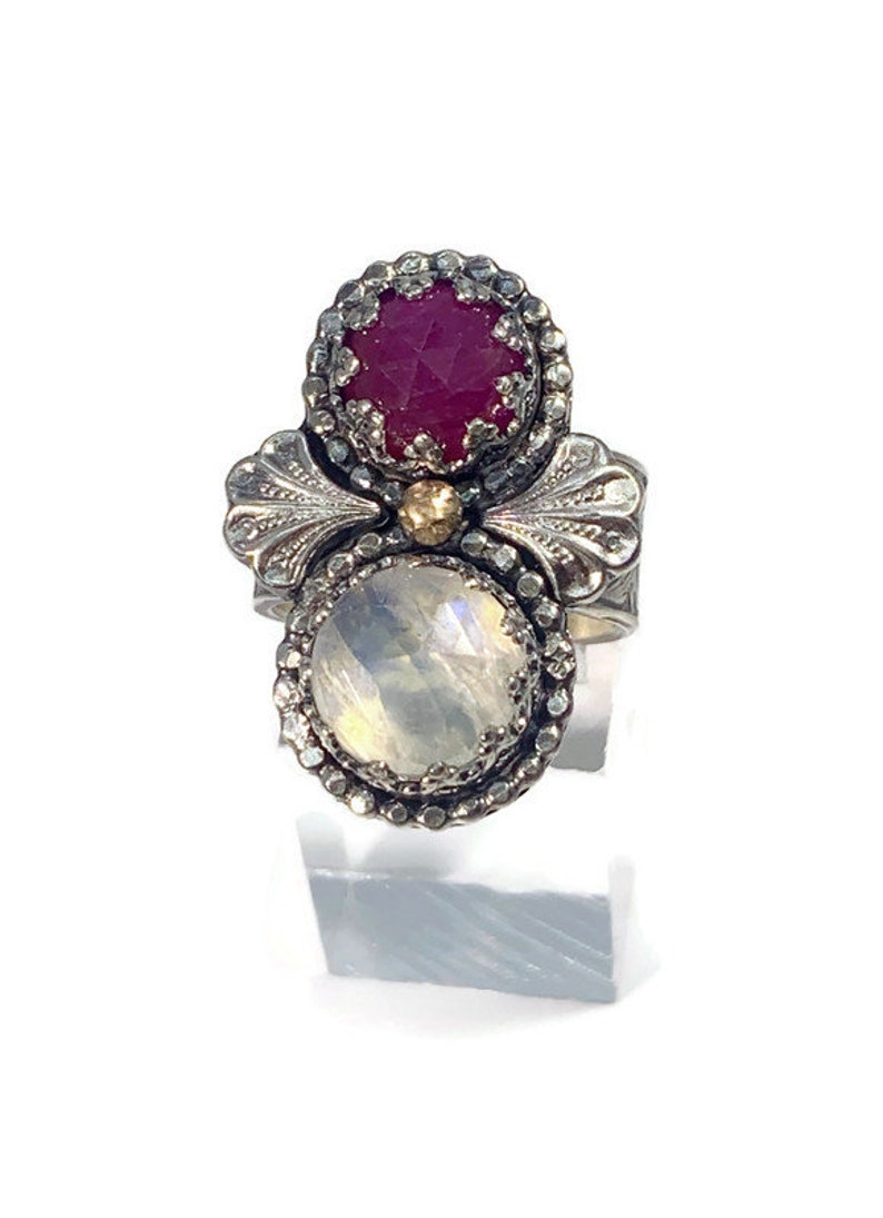 unique gemstone statement moonstone and ruby ring14k gold accentsvintage style jewelrywideband ring
