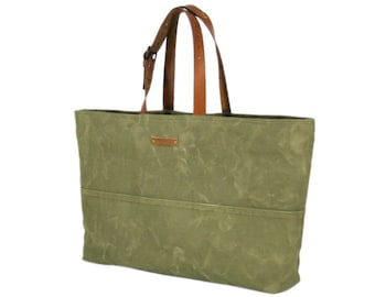 Recycled canvas bag, tote bag with leather straps, recycled bag, shoulder bag, large tote bag