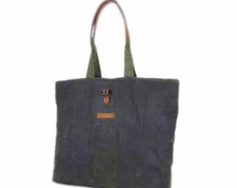 Large tote bag, waxed canvas bag, shoulder bag, recycling, reuse bag