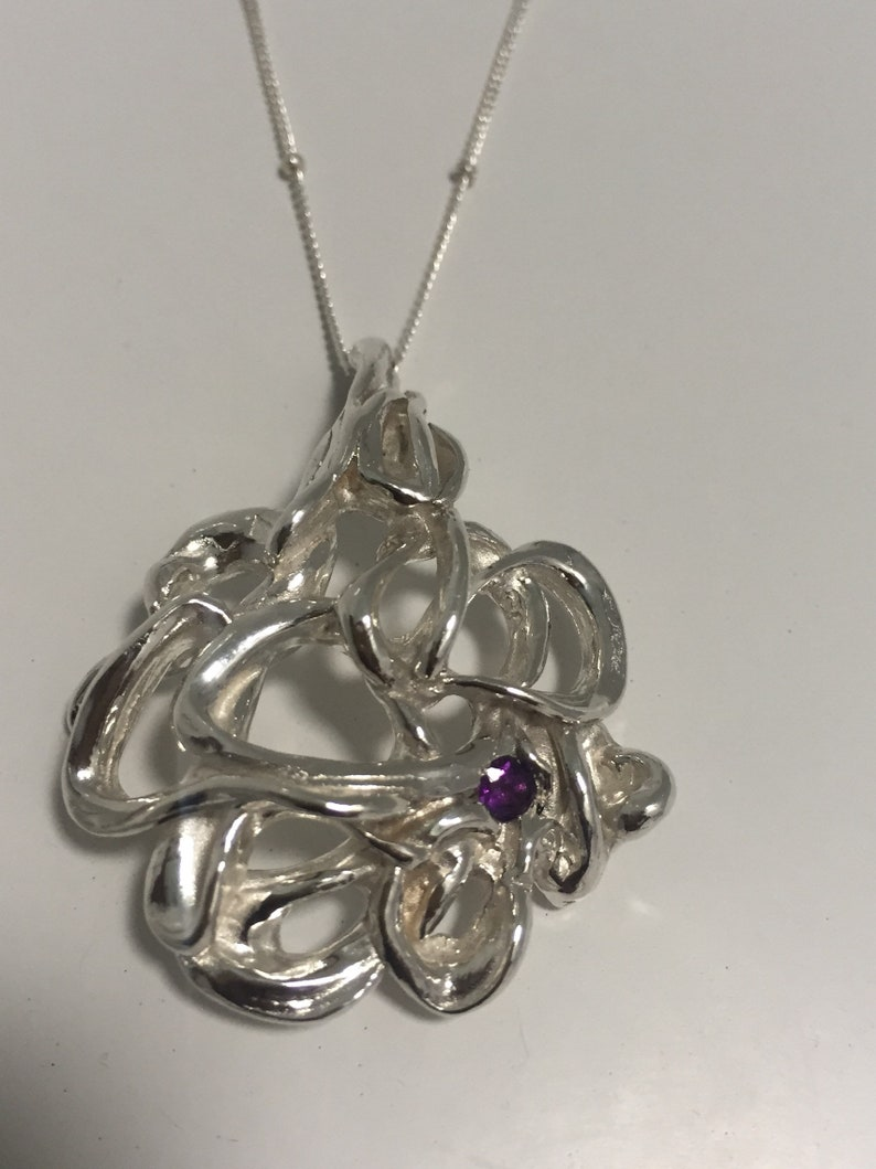 Amethyst Pendant Inferno Sterling Silver /& Amethyst Necklace Inferno Pendant on Silver Necklace