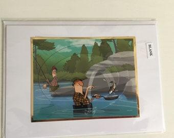 Handmade decoupage card, fishing