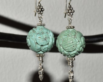 Chinese Carved Turquoise Shou Bead Sterling Silver Dangle Drop Earrings