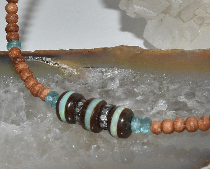 Fragrant Sandalwood Hand Made Jewerly Pave Diamond Boho Layering Boulder Opal Gemstone Necklace