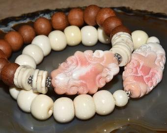 Carved Coral Stretch Bracelet Neutral Boho Bracelet Summer Fashion Sandalwood or Bone