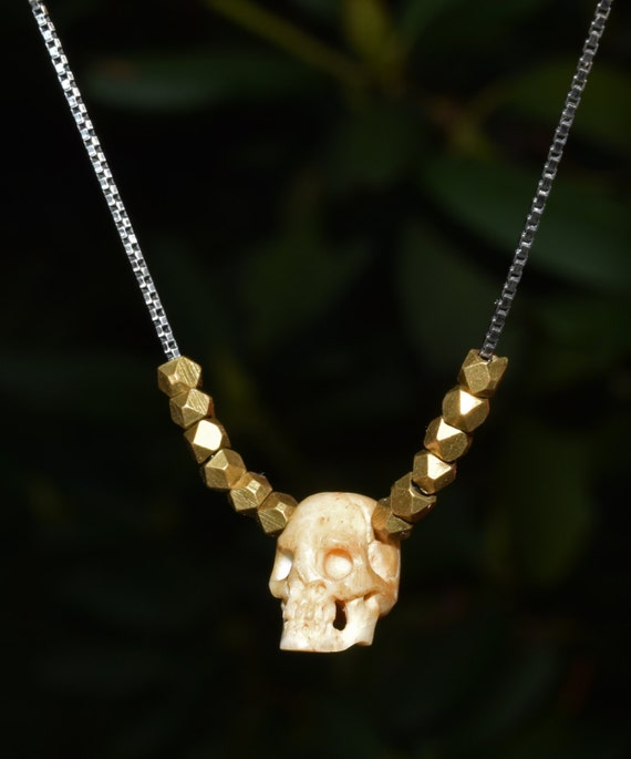 Simple Carved Miniature Bone Skull Necklace Brass Nuggets Etsy