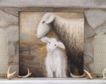 "sheep painting,lamb painting,Giclee Print,mother and baby,lamb art,sheep art,""MaaMaa and Baby"",nursery art,farmhouse,rustic art"