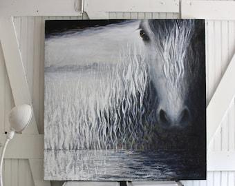 "Horse Painting, 36""x36"", GicleePrint, Equine Art,Large Print, Farmhouse Art, Farmhouse Decor, Square Painting, Fine Art"