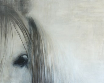 """Horse painting,Equine art,Horse art,Giclee Print,Painting of a horse,""""Gaze"""", 36""""x48"""",White horse,gray painting"""
