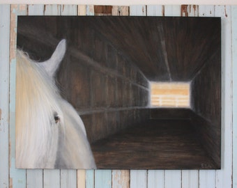 """horse painting,horse art,equestrian painting,equestrian art,""""Shelter II"""",western art,rustic art,farmhouse style,barn,stable"""