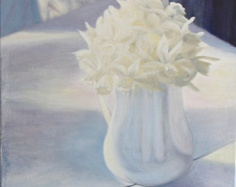 """Floral Painting, Daffodil Painting, 20""""x20"""", Print, """"Light of Spring"""", Fine art, Spring Painting, Still Life, Flowers,"""