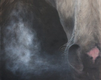 """horse painting,equine art,equestrian painting,horse art,western art,""""The Breath of Winter"""",Giclee Print"""