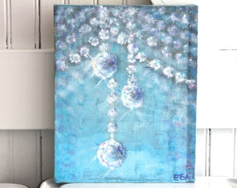 "Chandelier Painting,""Twinkle"", 8""x10"", Giclee Print, Fine Art, Original Art, Shabby Chic, Baby Nursery, Baby Shower Gift,"