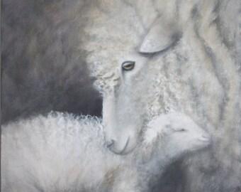 "Sheep Painting,Lamb Painting,Farm Decor,Baby Shower,""Maa Maa's Love"",Giclee Print,Nursery,Rustic Art"