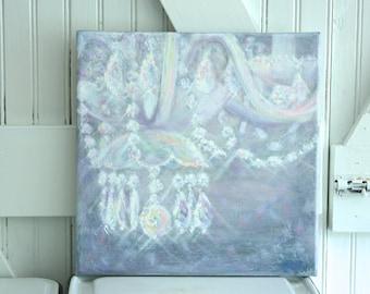 "Chandelier Painting, ""Ami Lumineux"", Giclee Print, 12""x12"",Chandelier, Shabby Chic Art, Baby Nursery,Fine Art, Original Art"
