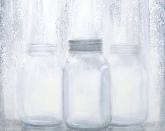 Grey Jars #1....Giclee Print on canvas of my original painting.