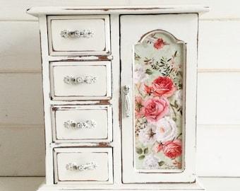 CUSTOMISABLE ORDER - MEDIUM Shabby Chic Vintage Jewellery Box / Armoire Cabinet Case