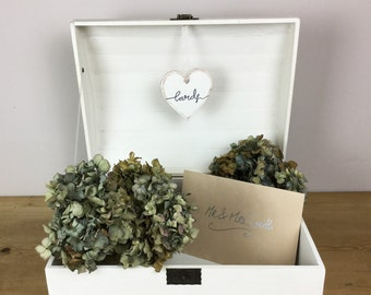 Wedding Card Box / Wedding Display Trunk / Party Card Box / Storage Trunk | Painted Old White + Pale Grey with Copper Butterflies