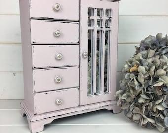 Pretty Vintage Jewellery Box Painted in Antoinette Pink With Mirrored Door