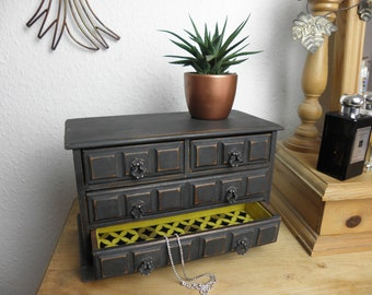 Vintage Industrial Style Musical Jewellery Chest Painted in Graphite (black) Lined with Gold/Ochre Felt And Geometric Fabric