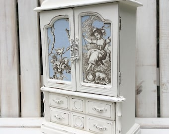 CUSTOMISABLE ORDER - LARGE Shabby Chic Vintage Jewellery Box / Armoire Cabinet Case