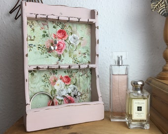 Vintage Wooden Wall Mounted Necklace/Bracelet Display in Antoinette Pink with Vintage Pink Rose on Sage Green Fabric