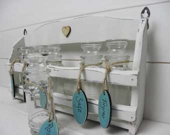 Vintage Painted Wooden Herb Rack with Original Glass Bottles and Hand Painted Labels