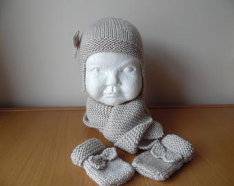 Hand knitted baby girls aviator/trapper hat. scarf and mittens set