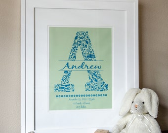 Baby Letter And Birth Details Print - 11x14
