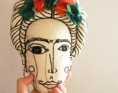 Frida Kahlo Doll Textile Art Face Pillow Plush Embroidery Illustration Fabric Doll Soft Sculpture original artwork by polykatoikia