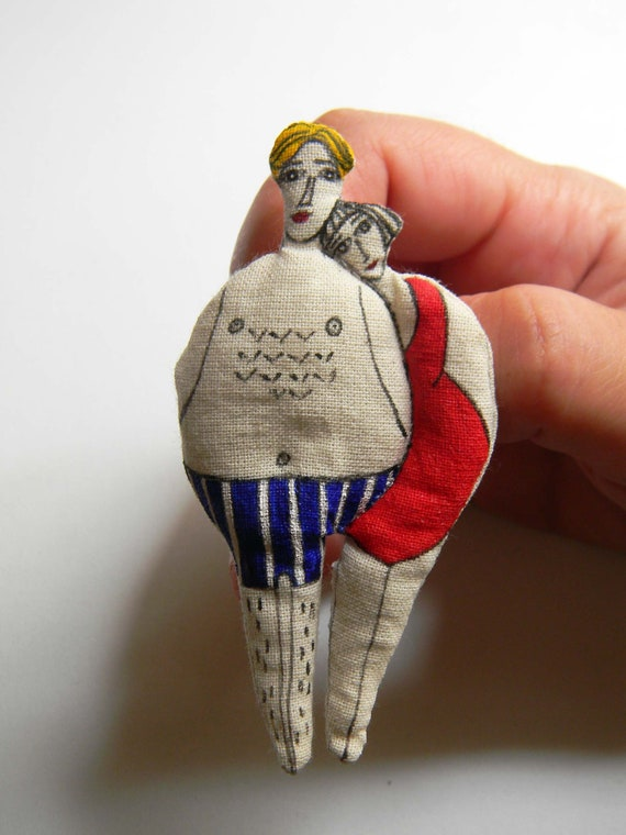 OOAK textile art by polykatoikia swimmer brooch inspired by Cycladic Art Violin shaped Cycladic idol handmade brooch