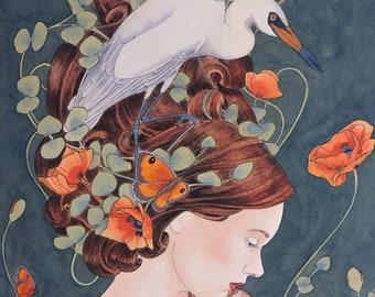 Egret Painting Etsy