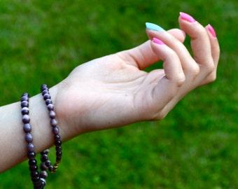 Raspberry Purple Beaded Necklace/ Purple Beaded Bracelet/ Beaded Jewelry