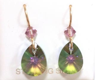 Olive Lavender Swarovski Crystal Earrings on Gold Filled French Hooks
