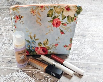 Vintage Style Makeup Pouch - Makeup Bag - Cosmetic Case - Makeup Case - Travel Bag - Cosmetic Bag - Zipper Pouch - Toiletry Bag