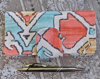 Peach, Teal and Yellow Checkbook Cover - Checkbook Holder - Coupon Wallet - Cash Wallet - Fabric Wallet