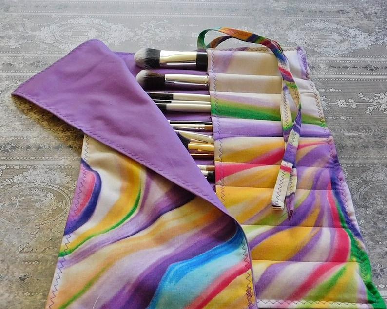 Brush Organizer Retro Swirl Makeup Brush Holder Makeup Brush Carrier Multi Colour Makeup Brush Roll Crochet Hook Case Teen Gift