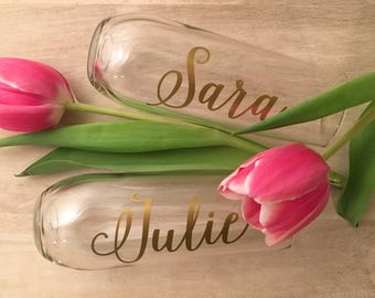 Personalized Stemless Glass Champagne Flutes