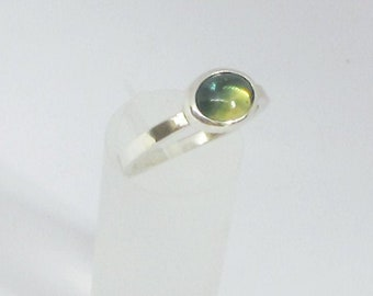Australian parti sapphire and white gold ring, sapphire cabochon and gold ring, contemporary sapphire, UK shop