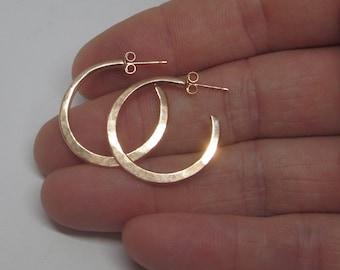 Solid gold hoop earrings, rose gold hoop earrings, contemporary gold earrings, forged earrings, UK shop