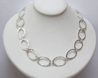 Oval silver link necklace, hammered silver chain necklace, Scandinavian style necklace, UK shop