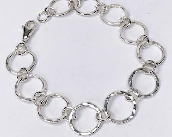 Hammered silver bracelet, silver circles bracelet, Scandinavian design, UK shop