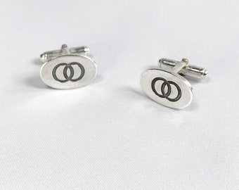 Silver interlinking circles cufflinks, Father's Day gift